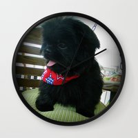 patriotic Wall Clocks featuring Patriotic Pup  by Rainey's View