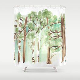 watercolor forest // aspen and other trees in spring Shower Curtain