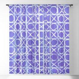 Rustic blue wicker pattern Sheer Curtain