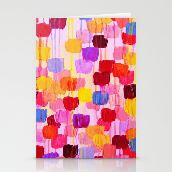 DOTTY in Pink - October Special Revisited Bold Colorful Square Polka Dots Original Abstract Painting Stationery Cards