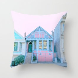 San Francisco Painted Lady Victorian House Throw Pillow