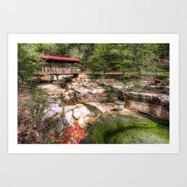 Wooden Covered Bridge on a Bluff - Ozark Mountains Art Print