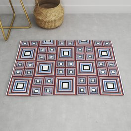 Terracotta Plaid Themed Block Party Rug