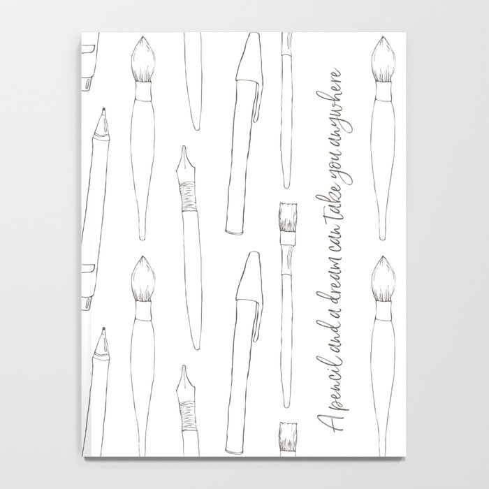 A pencil and a dream... white! Notebook