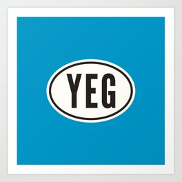 YEG Edmonton Alberta Canada • Oval Car Sticker Design with Airport Code • Ocean Blue Art Print