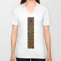 antique V-neck T-shirts featuring ANTIQUE PATTERN by Klara Acel