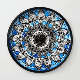 Blue Tiedye Mandala Wall Clock