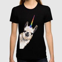 Sneaky Unicorn Llama White T-shirt