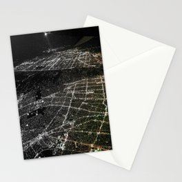 Night Flight out of Los Angeles Grey Stationery Cards