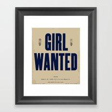 Girl Wanted Framed Art Print