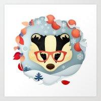 Winter Badger Art Print