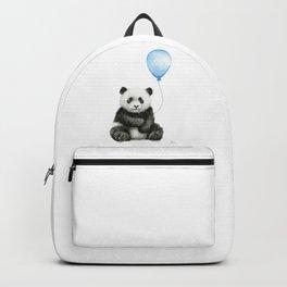 Panda Baby Animal with Blue Balloon Backpack