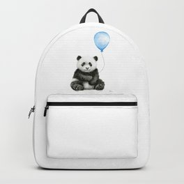 Panda Baby Animal with Blue Balloon Backpack