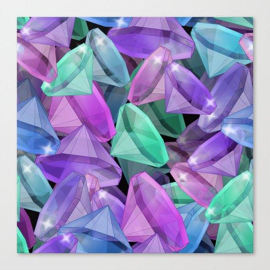 Placer precious stones Black background . Diamonds . Canvas Print