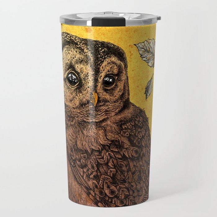 Tawny Owl Yellow Travel Mug