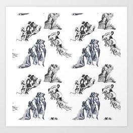 Marquis de Sade's Illustrations Pattern Art Print