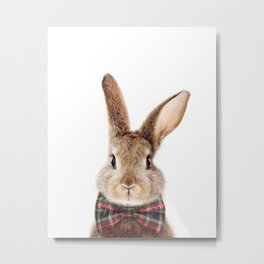 Bunny With Bow Tie, Baby Animals Art Print By Synplus Metal Print