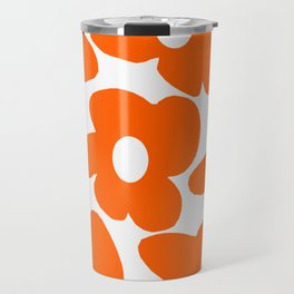 Orange Retro Flowers White Background #decor #society6 #buyart Travel Mug