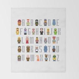 Pixel Muppet Show Alphabet Throw Blanket