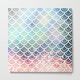 Mermaid Scales Coral and Turquoise Metal Print
