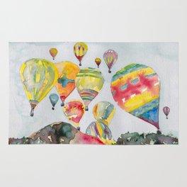 Hot air balloons flying Rug