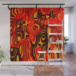 Cloudy flowing spots of calm colors with red. Wall Mural