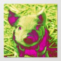 piglet Canvas Prints featuring Diabolic PIGLET by MehrFarbeimLeben