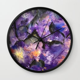 Flowers and mountains Wall Clock