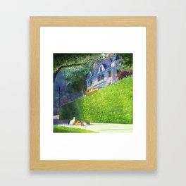 Cat Pilot on a Green Hedge Framed Art Print