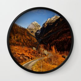 Fall in the mountains with a winding road Wall Clock