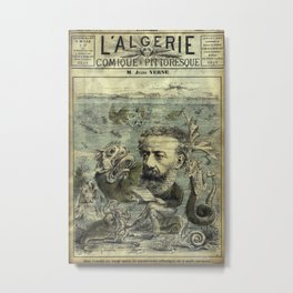 Vintage Jules Verne Periodical Cover Metal Print