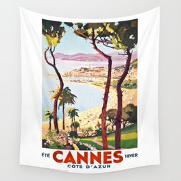 1938 France Cannes Cote D'Azur Travel Poster Wall Tapestry