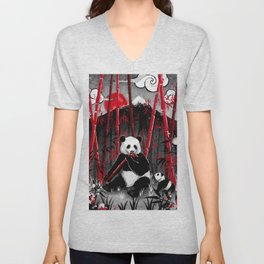 Red Bamboo Panda Unisex V-Neck