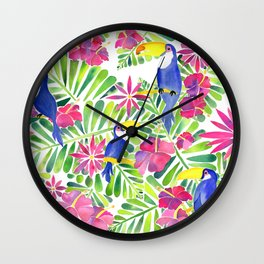 Tropical Toucans Watercolor Painting Wall Clock