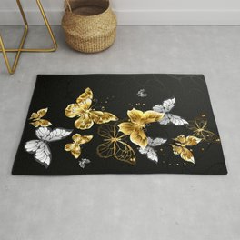 Gold and White Butterflies Rug