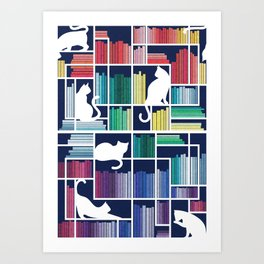 Rainbow bookshelf // navy blue background white shelf and library cats Art Print