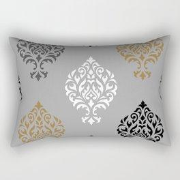 Orna Damask Ptn BW Grays Gold Rectangular Pillow