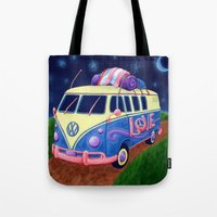 hippie Tote Bags featuring Hippie Van by whiterabbitart