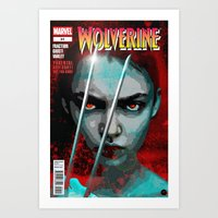 book cover Art Prints featuring Comic Book Cover by iArtMike