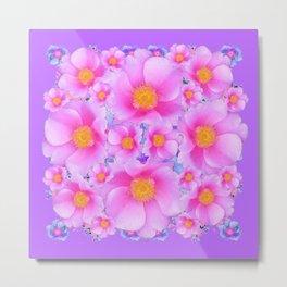Lilac Purple & Pink Roses Metal Print