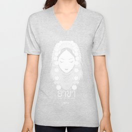 Akha Hilltribe Lady / Black Unisex V-Neck