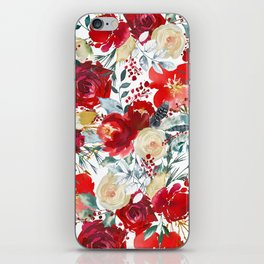 Red teal hand painted boho watercolor roses floral iPhone Skin