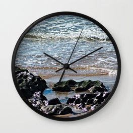 Sea Rocks Ebbing Waves Beach Coastal Wall Clock