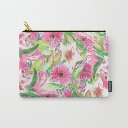 Pink Floral Print Carry-All Pouch