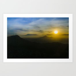 Sunset Scene Santiago de Chile Aerial View Art Print