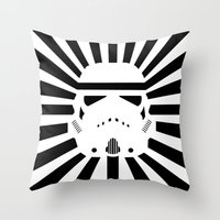 storm trooper Throw Pillows featuring Storm Trooper by RobotSpaceBrain