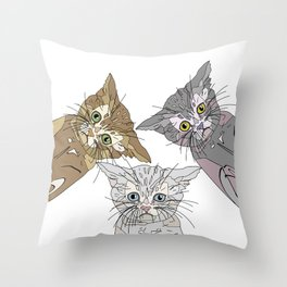 Triple Kitties - Three's Company Throw Pillow