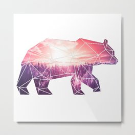 Bear in polygone Metal Print