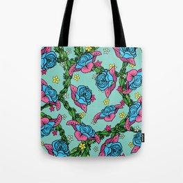 Blue Rose Pattern Tote Bag