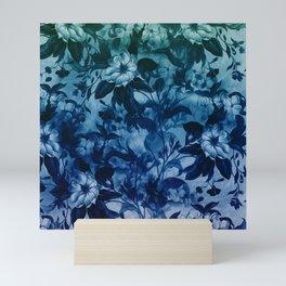 Blossoming flowers print in blue Mini Art Print